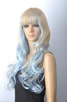 100% جديد جودة عالية أزياء صورة المرأة تأثيري شعر مستعار>> جديدة السماء الزرقاء شقراء مزيج طويل الباروكات مجعد الباروكة