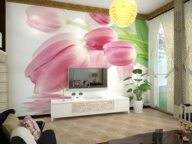 Free shipping light pink tulip design 3d wallpaper 3d mural Mordern ...
