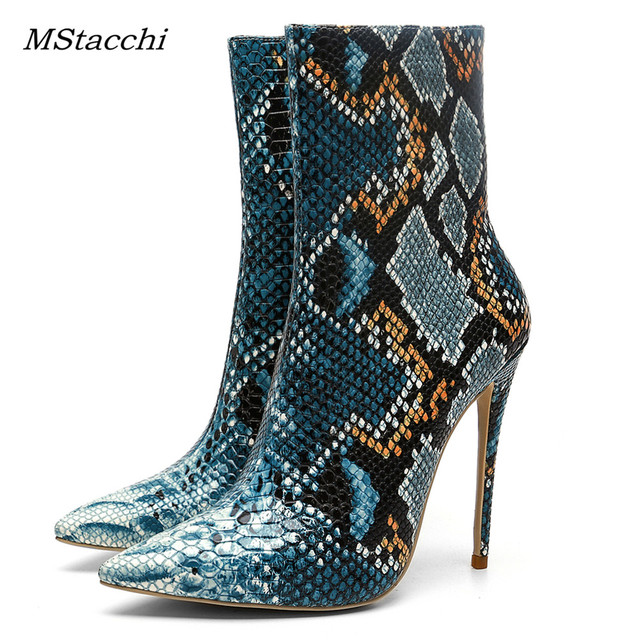Mstacchi Serpentine High Heels Boots Pointed Toe Stiletto Heels Women Ankle Boots Sexy Side Zip Party Shoes Woman Big Size 33-45