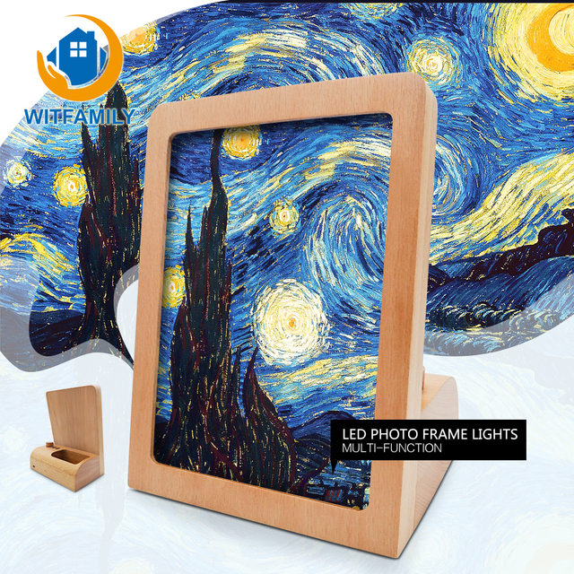 Creative Led Light Photo Frame 6 Inch Beech Picture Frame Wooden