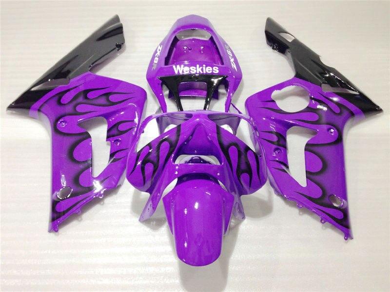 Injection mold fairing kit for Kawasaki Ninja ZX6R 03 04 black flames purple fairings set ZX6R 2003 2004 OT02 full fairing kit for kawasaki zx6r 1994 1995 1996 1997 ninja 636 zx 6r 94 97 white black purple customize fairings set ef24
