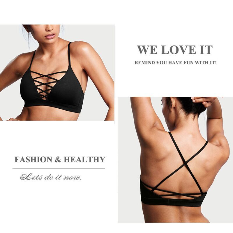 Female Sexy Sports Bra Crisscross Front Back New Active Yoga Running