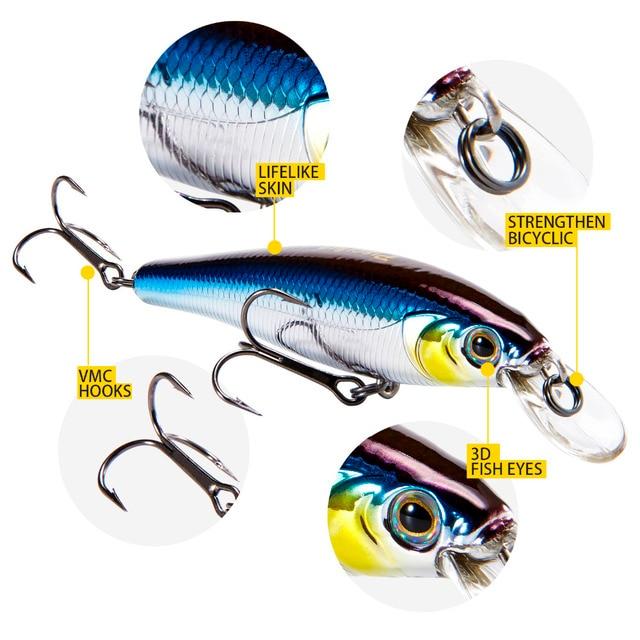 Piscifun isca de pesca 95mm 15g 3d olhos realistas simulação minnow duro isca cambota pesca iscas duras vmc ganchos pesca cebo