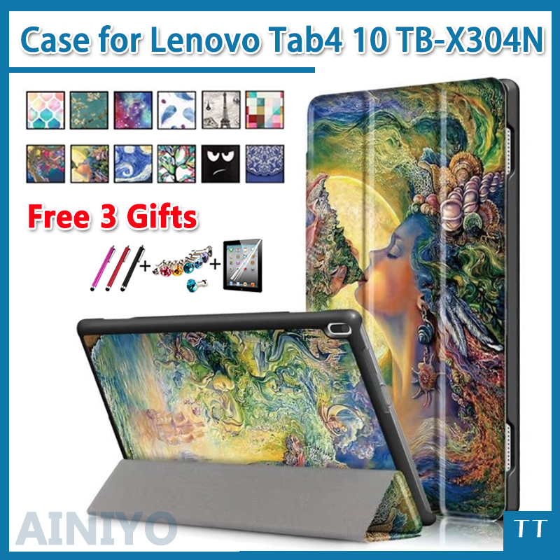 High Quality Case For Lenovo TAB 4 10 Protective Smart cover for Lenovo Tab4 tab 4 10 tb-x304l tb-X304F/N Case 10.1+gifts
