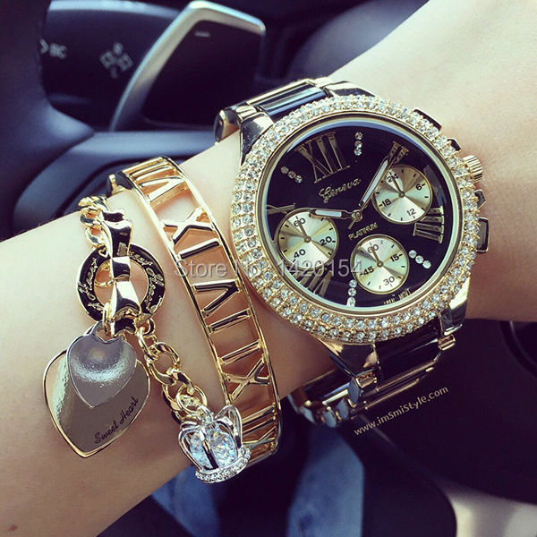 Fashion Crystal 2015 GENEVA Watch Women Silicon Two tone Acrylic Bracelet Jewelry Watches