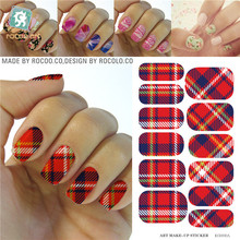 Fashion Red Blue White Tartan Design Nails Stickers Water Transfer Manicure Styling Tools Water Film Paper