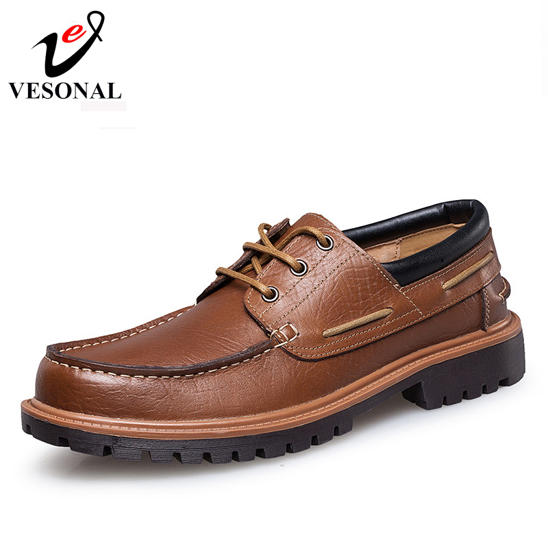 VESONAL Men Casual Shoes Brand Male Adult Genuine Leather Walking Fashion Driver Autumn Breathable Oxfords Footwear