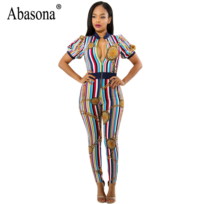 Abasona Women Striped Jumpsuits Summer Front Zipper Chain Printed Rompers Womens Jumpsuit Sexy Party Club Overalls Female