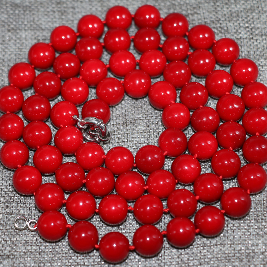 12mm high quality red artificial coral round beads necklace for women long chain women gifts free shipping jewelry 36inch B2920