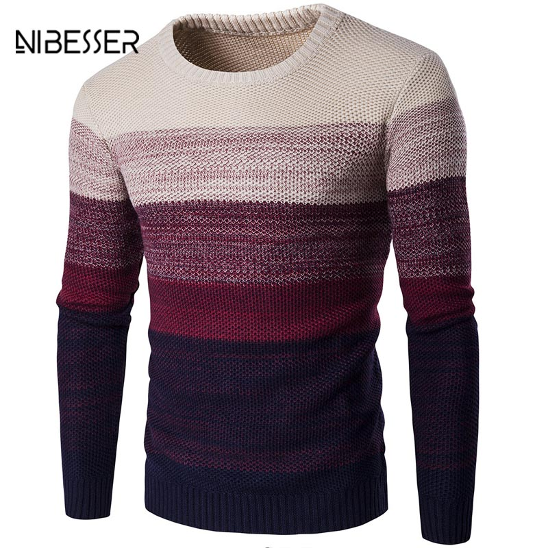 Nibesser marca suéter casual o-cuello rayas slim fit hombres de manga larga patchwork pullover suéter casual Thin otoño