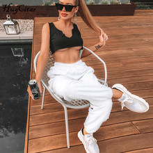 Hugcitar cotton high waist losse baggy cargo pants 2019 autumn winter fitness trousers streetwear outfits