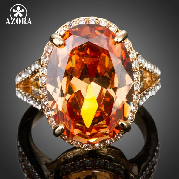 AZORA Gold Plated Big Egg Shaped Cubic Zirconia Around With Crystal Adjustable Size Ring TR0138