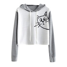 Women Sweatshirt Cat Animal Print Long Sleeve Hooded Crop Top Rough Pullovers Fashion Woman Fleeces Jumper Sweatshirts New(China)