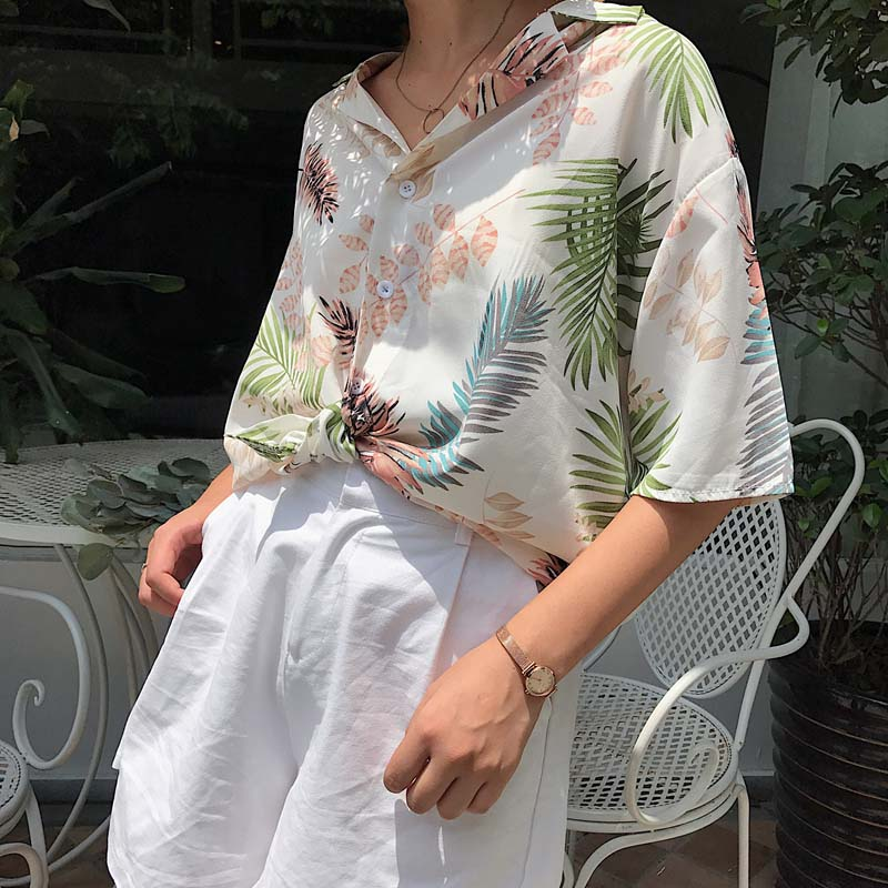 2018 Summer Women Casual Tops Half Sleeve Floral   Blouses     Shirts   Loose Beach   Shirt   Blusas Feminina