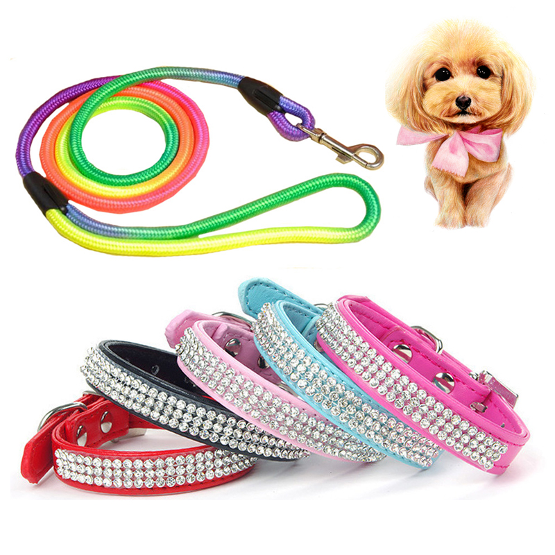 1pcs Nylon Pet Dog Leashes Traction Rope for Walking +1pcs Bling PU Leather Dog Collar Adjustable Rhinestone Puppy Dog Collar