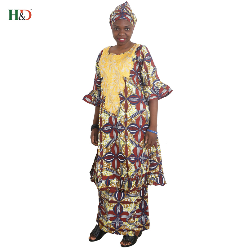 5298177b5676 H D 2018 african women dress new designer fashion africa outfiting dresses  embroidery traditional bazin riche suit skirt sets-in Africa Clothing from  ...