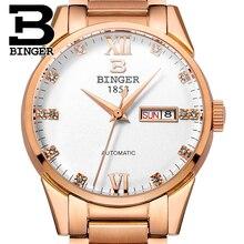 Switzerland men's watch luxury brand Wristwatches BINGER 18K gold Automatic self-wind full stainless steel waterproof  B1128-2