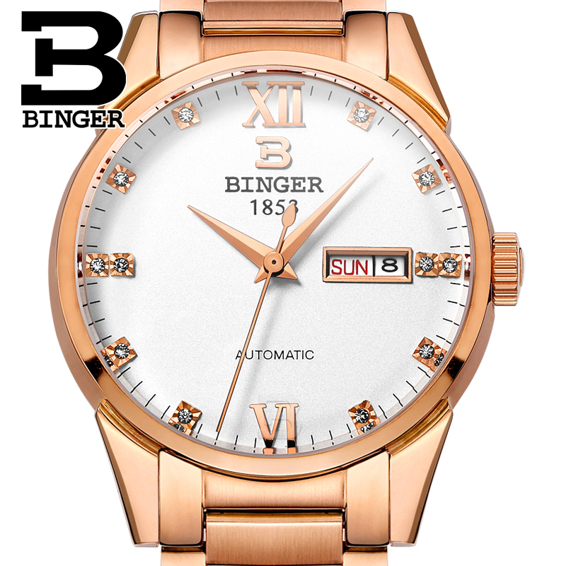 Switzerland men's watch luxury brand Wristwatches BINGER 18K gold Automatic self-wind full stainless steel waterproof  B1128-2 switzerland men s watch luxury brand wristwatches binger luminous automatic self wind full stainless steel waterproof b106 2