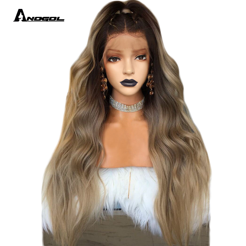 Anogol Dark Roots Ombre Blonde Long Body Wave 24
