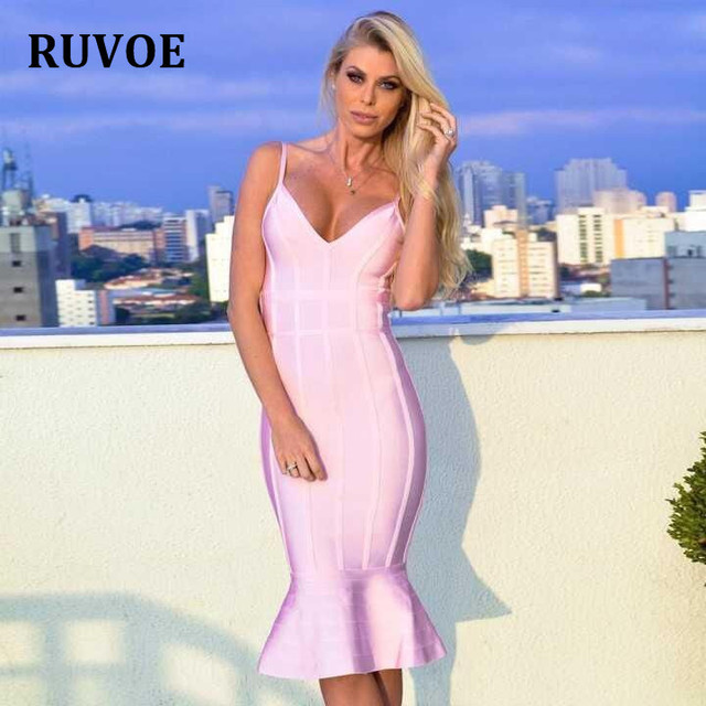 e5dc13bd57 2017 New Women Party Bodycon Sleevless Bandage Dress Sexy Baby Pink Off  Shoulder Fishtail Midi Club Backless Runway Dresses