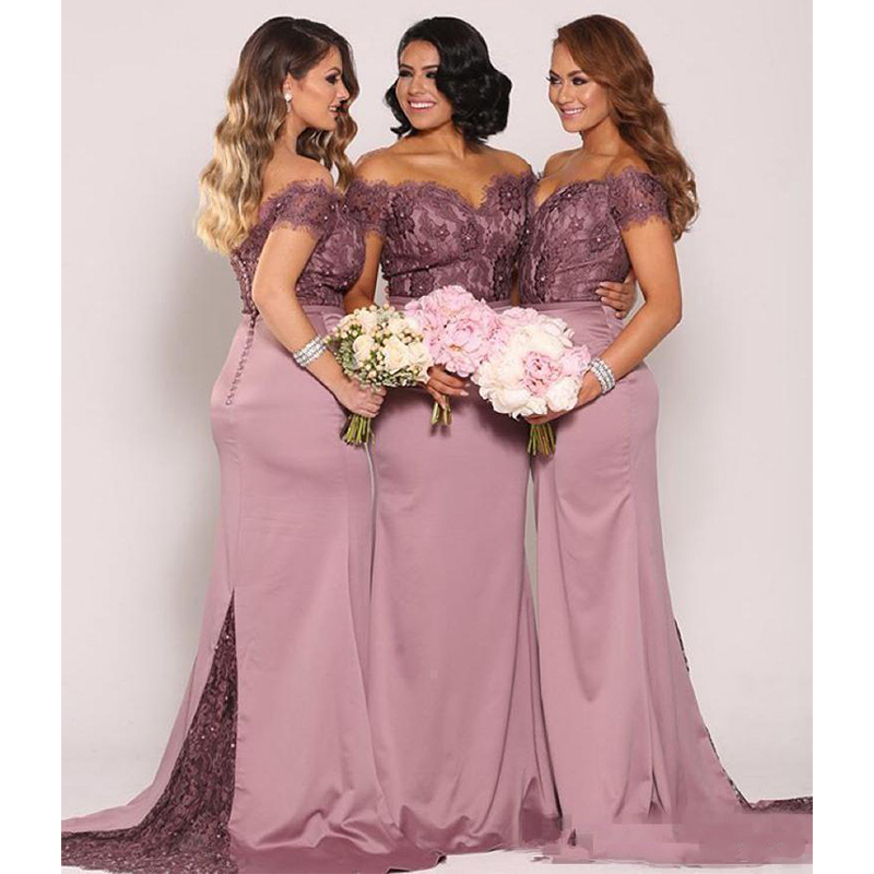 Mermaid Lace   Bridesmaid     Dresses   Plus Size Cheap Formal Maid of Honor Gowns Backless Long Off the Shoulder Wedding