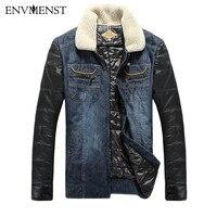 2017 Envmenst Men Cotton Down Parka Men S Denim Patchwork Coats Slim Fit Zipper Jacket Winter