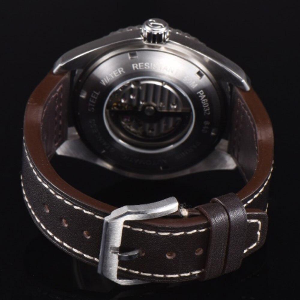 Reloj para hombre con movimiento automático miyota marca de lujo de cristal de zafiro con esfera negra Parnis de 45mm-in Relojes mecánicos from Relojes de pulsera    3