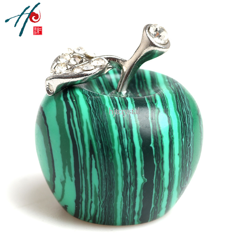 30mm Natural Healing Crystal Craft Carved Gemstone Apple Figurine Statue Paperweight Home Decoration Holiday Christmas Gifts