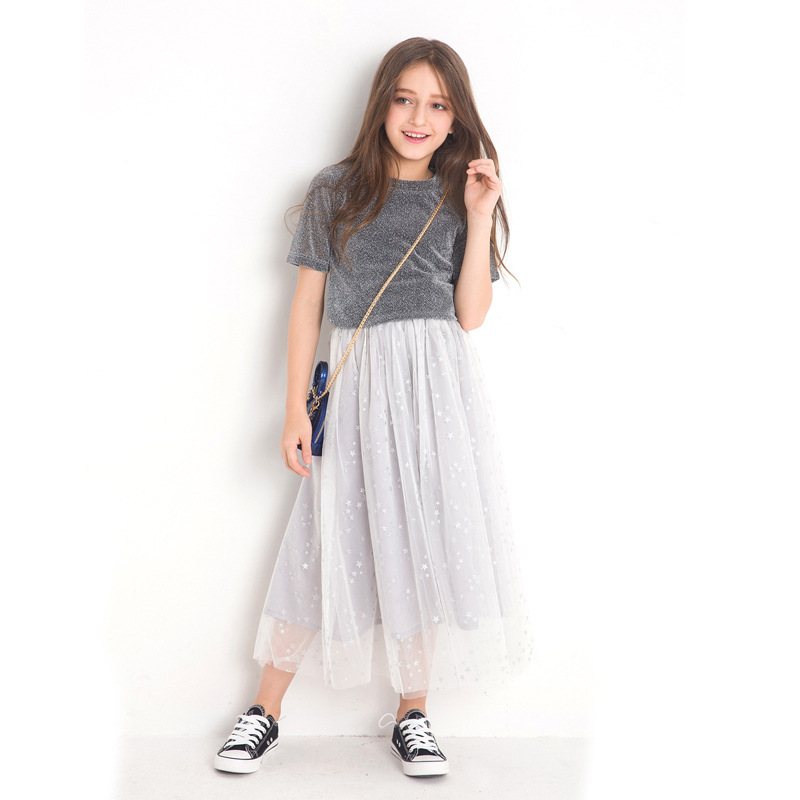 Girls Clothes Two-piece Girls Sets Sequined Mesh Skirts Size 8 10 12 14 Years Spring Summer Teenage Girls Clothing