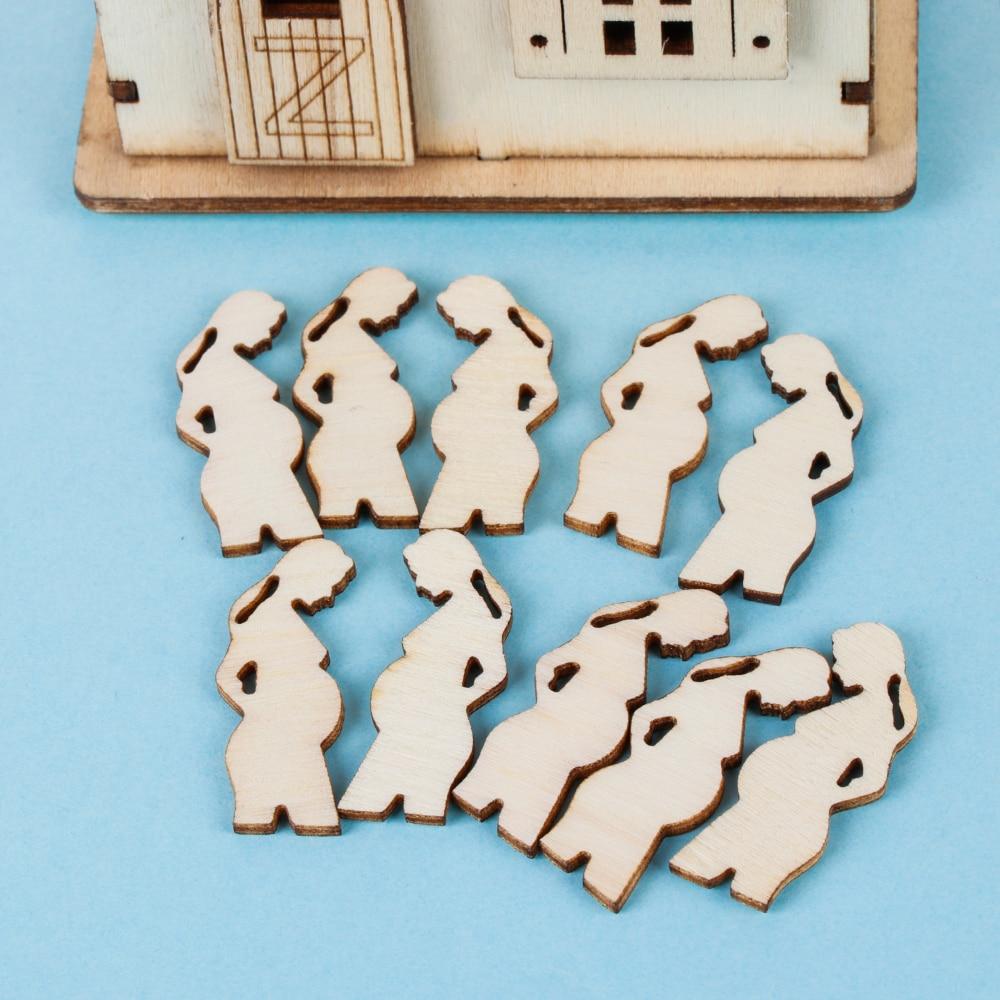 10PCS Pregnant Woman Shape Wood Embellishment Laser Cut Slice Hanging Ornaments Mother's Day Wood DIY Crafts Home Decor