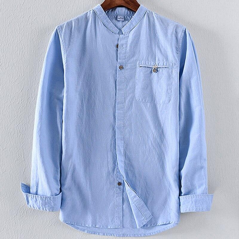 8f9e5022e Camisa de lino para hombres 2018 nuevo estilo camisas de manga larga de  cuello alto de color sólido ...