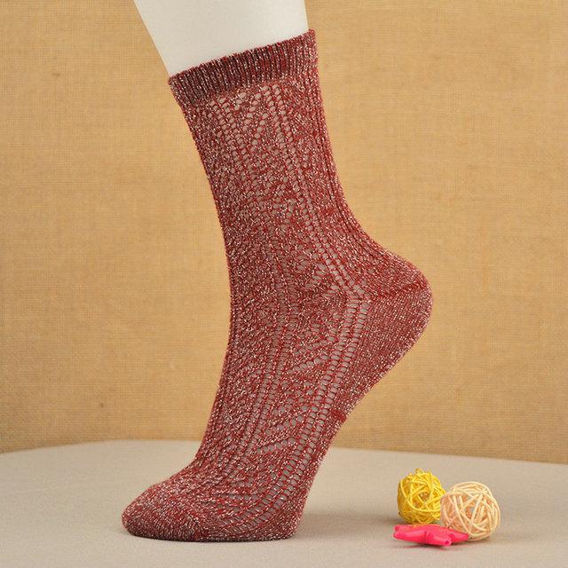 Vendas Hot Colorido Ultrafino Transparente Bonito algodão Elásticas Mulheres Curtas Meias Arrastão meias meias a céu aberto de prata de ouro