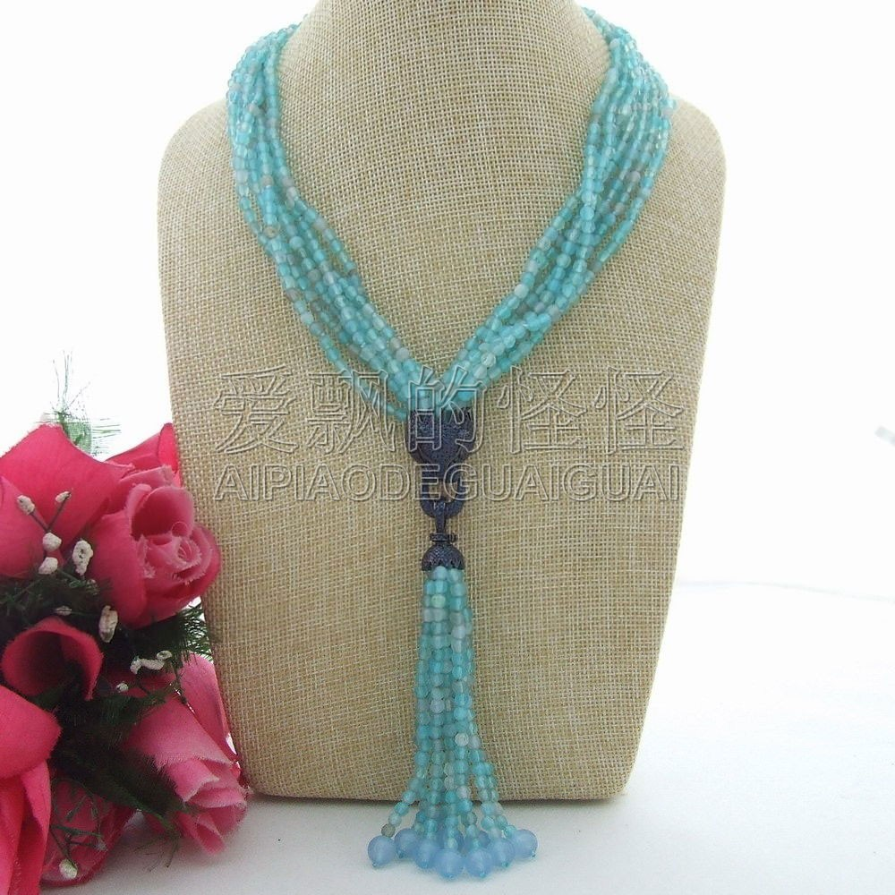 N071408 18 7 Strands 4mm Faceted Necklace Blue Dragon CZ Pave Pendant 20 23 7 strands green stone necklace cz pendant