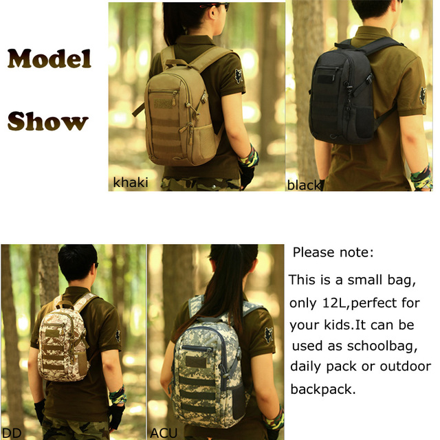12L Tactical MOLLE Army Outdoor Sports Pack Waterproof Backpack School Bags Kids Mini Military Rucksack Children Travel bag 5