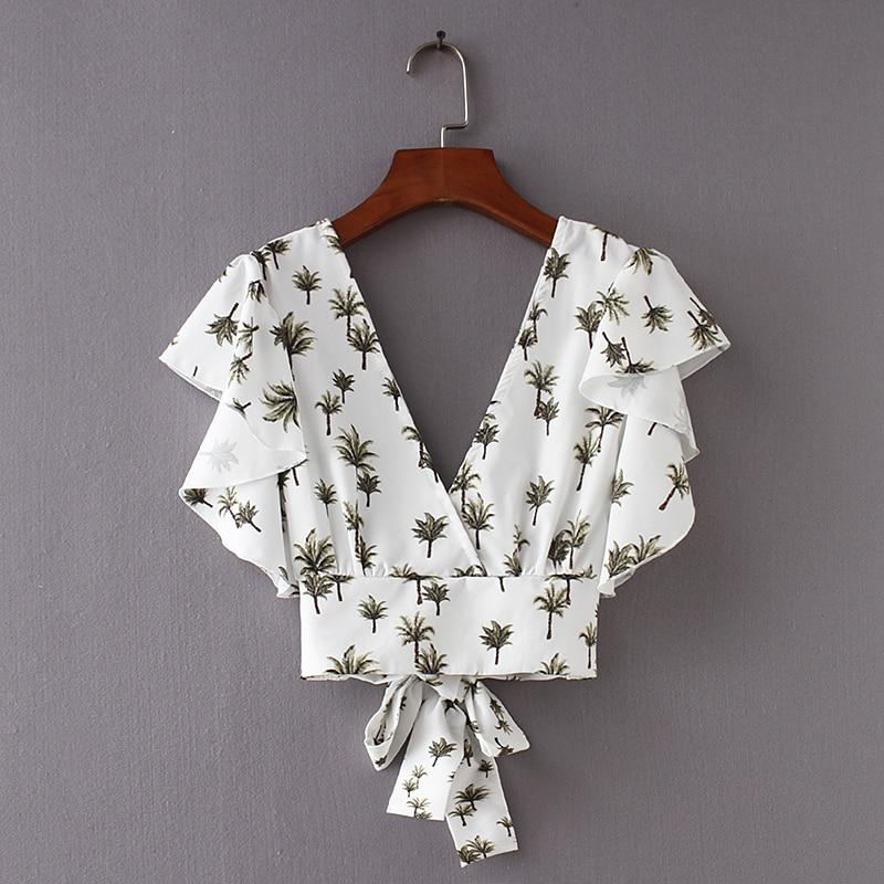 2018 Women Vintage Butterfly Sleeve Printing Ruffles Blouse Sweet Back V Bowknot Elastic Shirt Chic Femininas Blusas Tops LS2403