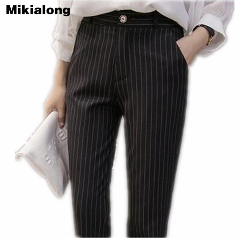 Mikialong Casual Striped Harem Pants Women New 2018 Spring High Quality Formal Suit Pants OL ...