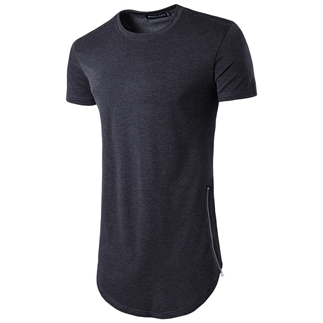 9cb849d0 2017 Brand New Clothing Mens Black long t shirt Zipper Hip Hop longline  extra long length tops tee tshirts for men tall t-shirt