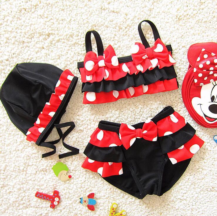 En gros bébé fille rouge et blanc polka points swimear haute spandex volants bikini enfants enfants fille 3 pcs maillot de bain ensemble dans Maillots de bain de Mère et Enfants
