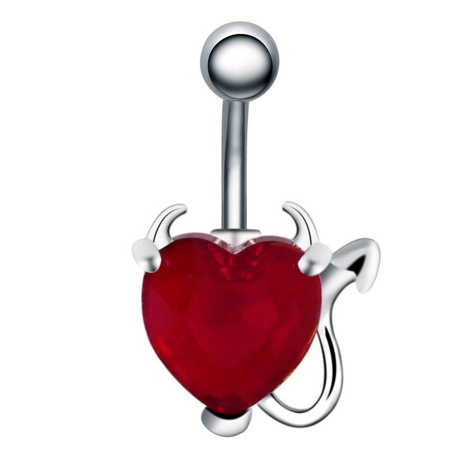 1 Piece 316l Stainless Steel Garnet Heart Zircon Crystal Devil Belly Button Ring Navel Piercing Body Jewelry Body Jewelry Aliexpress