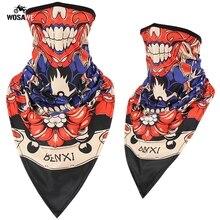 3D Skull Clown Seamless Motorcycle Triangle Neck Gaiter Face Shield Warm Motocross Bandana Headband Scarf Men Women Mask Wargame