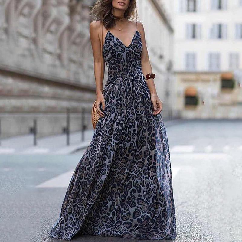 Fashion Sexy Dress Leopard V Neck Sling Dress Maxi Dresses Women Summer Sleeveless Chiffon Beach Long