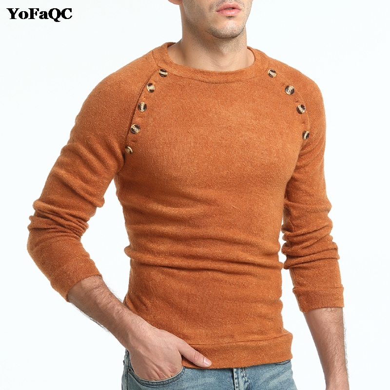 YoFaQC 2017 New Autumn Fashion Brand Casual Sweater O-Neck Solid Color Slim Fit Knitting Mens Sweaters And Pullovers Men
