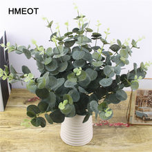 Simulação plantas verdes folhas de eucalipto material de parede decoração plantas falsas loja da família jardim dinheiro folha decoração flor