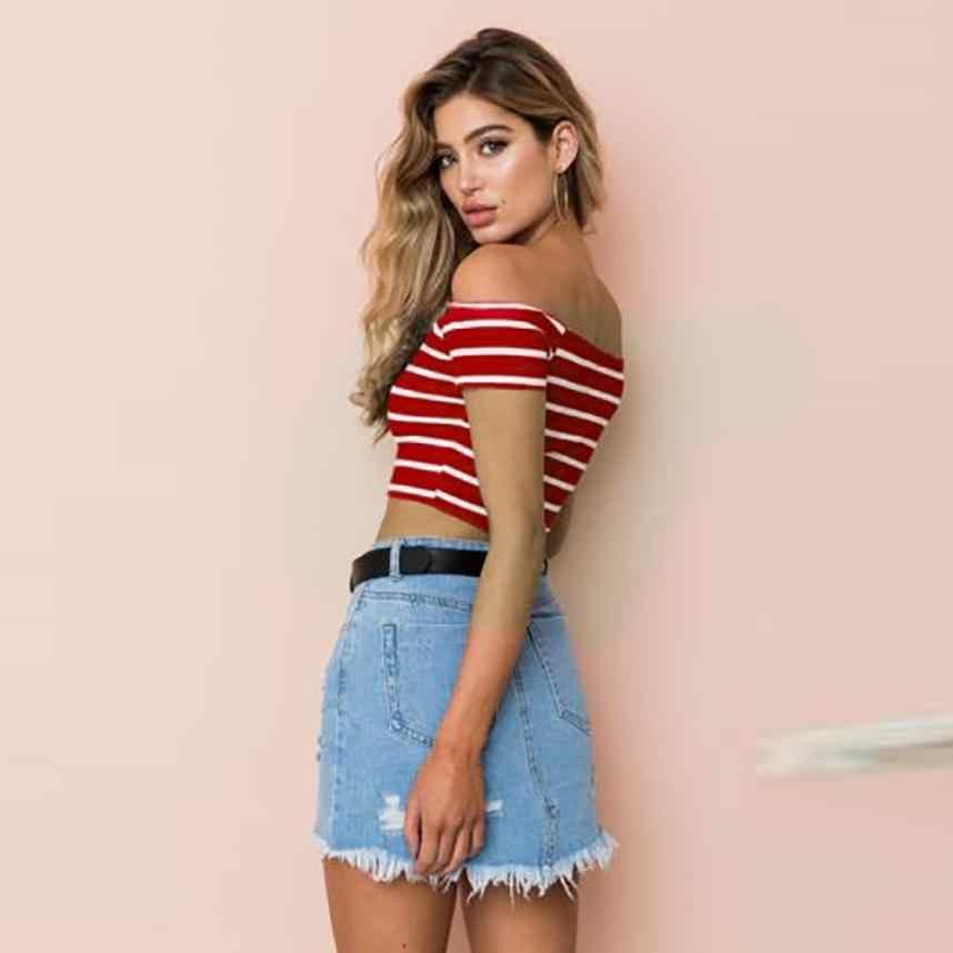 KANCOOLD topy wysokiej jakości panie Off Shoulder z krótkim rękawem topy w paski ubrania T-Shirt letnie topy dla kobiet 2018 ap26