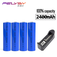 Hot FELYBY 4Pcs/lot Lithium battery charger 3.7V 18650 2400mAh Li-ion Rechargeable Battery 18650 Lithium Batteries 18650 battery