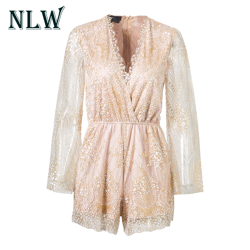 NLW Long Sleeve Sequin Women Plsysuits Sexy V Neck Mesh Jumpuits 2017 Autumn Beach Fitness Party Ladies Lace Overalls Rompers