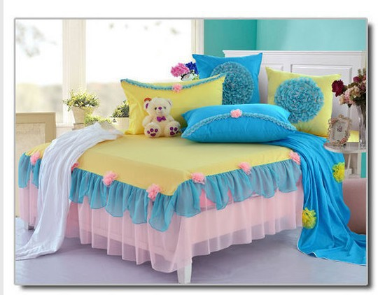 korean princess bedding comforter set full queen size blue yellow duvet cover quilt bed linen. Black Bedroom Furniture Sets. Home Design Ideas