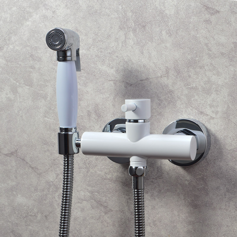 Exempt from Drilling Stoving Varnish Hot and Cold Bidet Bathroom Shower Toilet Jet Cleaner Portable Spray Wall Mount Faucet, цена и фото