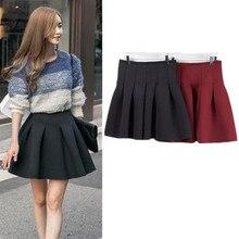 Autumn Winter Women Pleated Skirt Cotton High Waist Vintage Short Skirt Female Plus Size Slim Ball Gown Mini Skirt S M L    цена