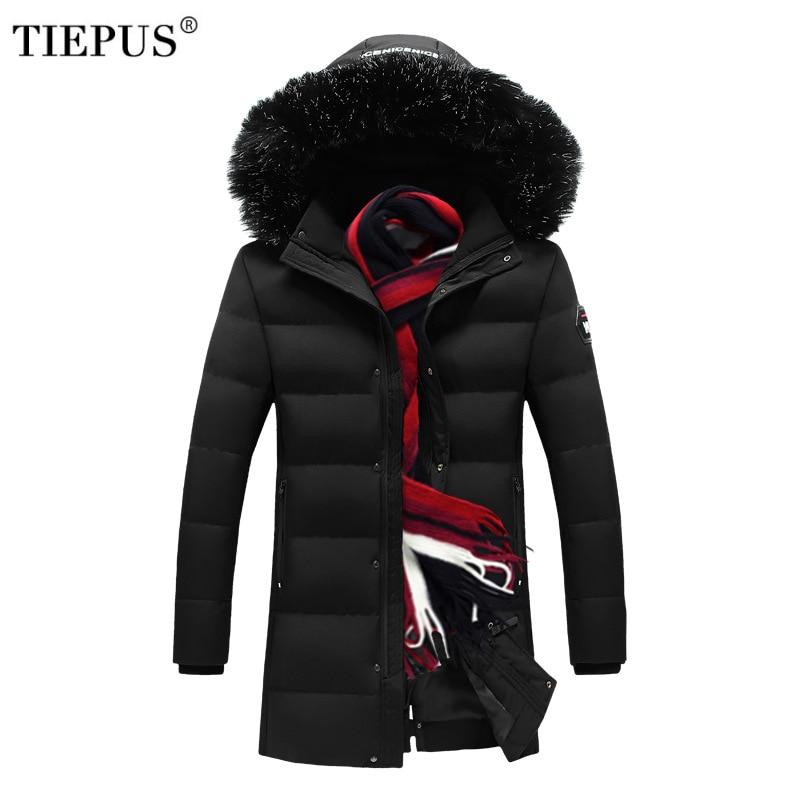 Новый мужской пуховик размера плюс M ~ 5XL,6XL ,7XL ,8XL, однотонная куртка с меховым воротником и капюшоном, Длинная Куртка парка, мужское зимнее те...